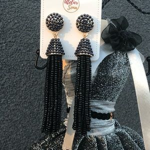 Beaded Tassel Earrings Black With Gold Base